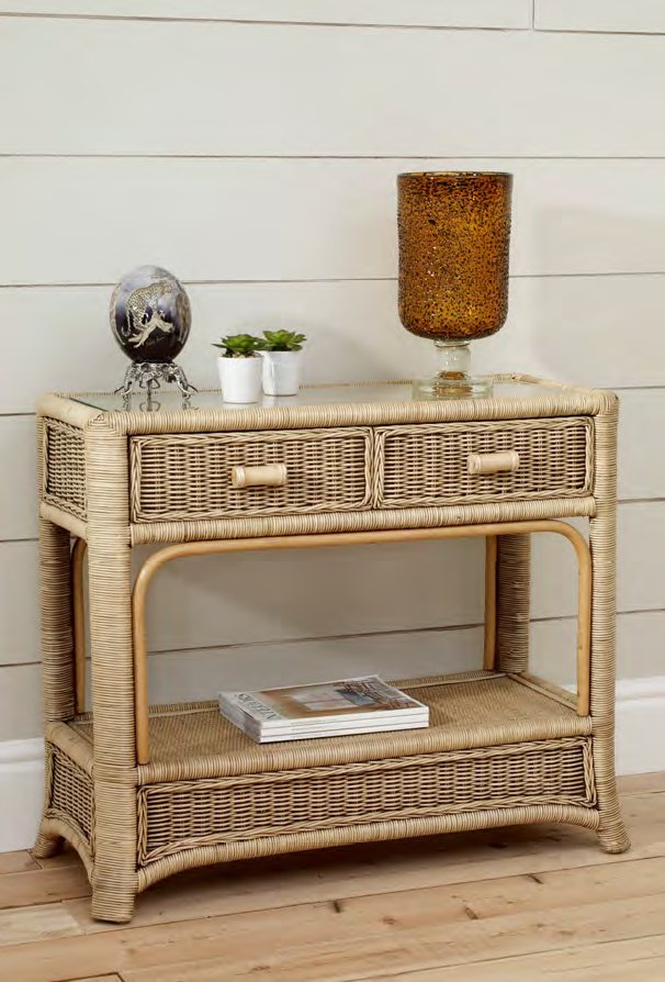 The Cane Industries Accessories Console Table With Glass Top