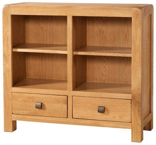 Devonshire Pine And Oak Avon Low Bookcase 2 Drawers