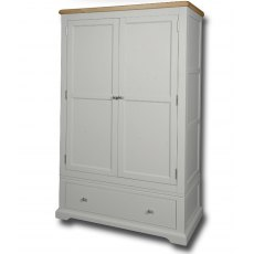 Real Wood Rio Painted 2 Door 1 Drawer Double Wardrobe