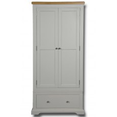 Real Wood Rio Painted 2 Door 1 Drawer Single Wardrobe