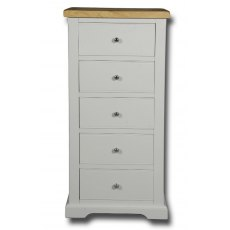 Real Wood Rio Painted 5 Drawer Wellington