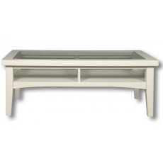Real Wood Rio Painted Coffee table With Glass Top 800mm Wide