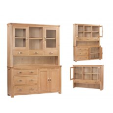 Annaghmorege Treviso Solid Oak Large Buffet Hutch