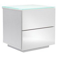 UK-CF City Scape Oslo Drawer White & White Glass Bedside Chest