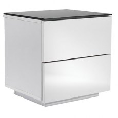 UK-CF City Scape Oslo Drawer White & Black Glass Bedside Chest