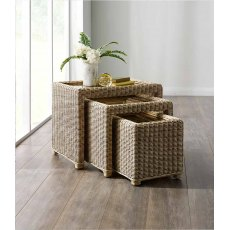 The Cane Industries Accessories Wicker Nest Of 3 Glass Topped Tables