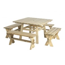 Alexander Rose Pine Table + 4 Benches 1.1m x 1.1m