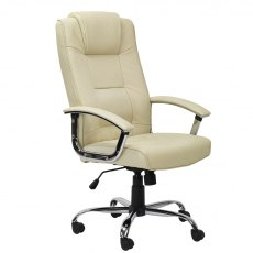 Alphason Office Chairs Houston Cream High Back Leather Executive Chair