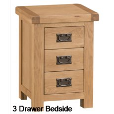 Hafren Collection KCO: Bedroom 3 Drawer Bedside