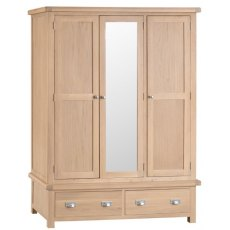 Hafren Collection KLO: Bedroom 3 Door Wardrobe With Mirror