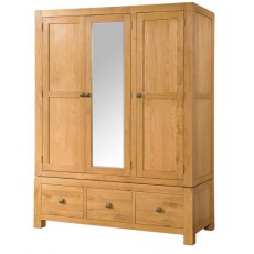 Devonshire Living: Avon Triple Wardrobe With 3 Drawers And Mirror