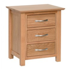 Devonshire Living: New Oak: 3 Drawer Bedside