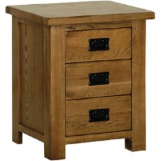 Devonshire Living: Rustic Oak: 3 Drawer Bedside