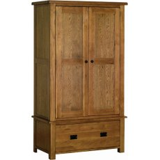 Devonshire Living: Rustic Oak: 1 Drawer Wardrobe