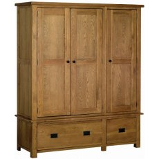 Devonshire Living: Rustic Oak: Triple Wardrobe