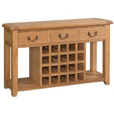 Devonshire Living: Somerset Oak: Open Sideboard with Winerack