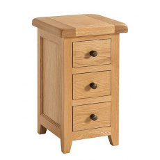 Devonshire Living: Somerset Oak: Narrow 3 Drawer Bedside