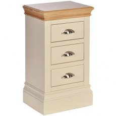 Devonshire Living: Lundy Painted Compact 3 Drawer Bedside