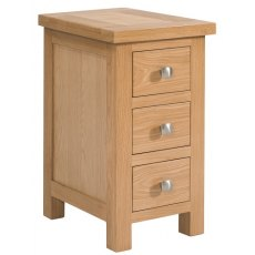 Devonshire Living: Dorset Oak: Narrow 3 Drawer Bedside