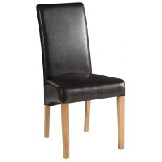 Devonshire Living: Dorset Oak: Brown Faux Leather Dining Chair