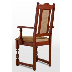 Wood Bros Old Charm Dining Carver Chair Harris Tweed Fabric