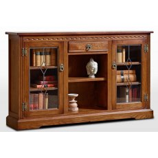 Wood Bros Old Charm Low Bookcase With Glass Doors
