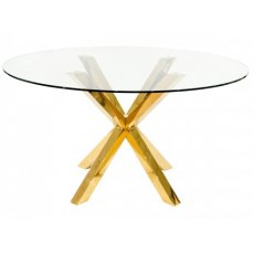 Febland Crosley Gold Circular Dining Table