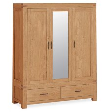 Global Home Sherwood : Triple Wardrobe With Mirror