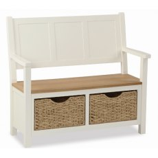 Global Home Suffolk Monks Bench With Baskets