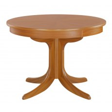 Nathan Classic Teak Cicular Pedestal Living & Dining Table with Sunburst Top