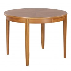 Nathan Classic Teak Circular Living & Dining Table on Legs with Sunburst top