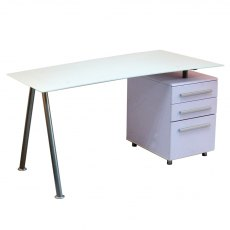 Alphason Desks Cleveland 3 White Glass Computer Desk