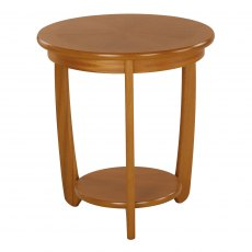 Nathan Classic Teak Large Sunburst Top Round Lamp Table