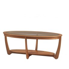 Nathan Classic Teak Glass Top Oval Coffee Table