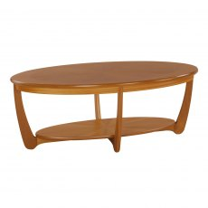 Nathan Classic Teak Sunburst Oval Coffee Table
