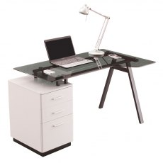 Alphason Desks Cleveland 4 White & Grey Glass Computer Desk