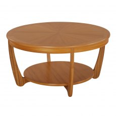 Nathan Classic Teak Sunburst Round Coffee Table