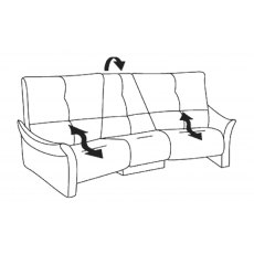 Himolla Brennand Trapezioidal 3 Seater Recliner Sofa