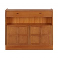 Nathan Classic Teak Low Bookcase with Doors