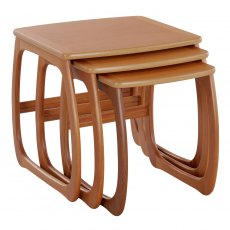 Nathan Classic Teak Burlington Nest Of 3 Tables
