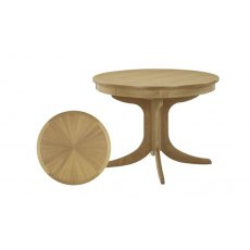 Nathan Shades Oak Circular Pedestal Living & Dining Table with Sunburst Top