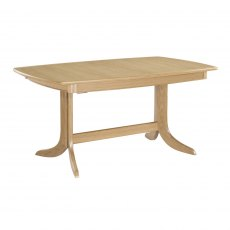 Nathan Shades Oak Extending Boat Shaped Pedestal Living & Dining Table
