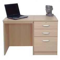 R White Cabinets Set 02 - Desk with 3 Drawer Unit/Filing Cabinet