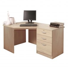 R White Cabinets Set 07 - Corner Desk with 3 Drawer Unit/Filing Cabinet