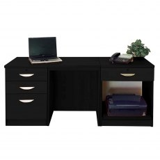 R White Cabinets Set 08 - Desk with Printer & Drawer Units