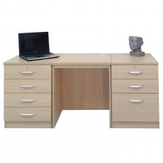 R White Cabinets Set 09 - Desk with Two Drawer Units
