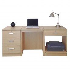 R White Cabinets Set 11 - Desk with Printer & Drawer Units