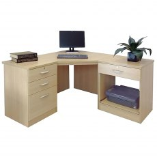 R White Cabinets Set 12 - Corner Desk with Printer & Drawer Units