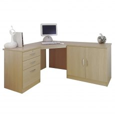 R White Cabinets Set 13 - Corner Desk with Cupboard & Drawer Units