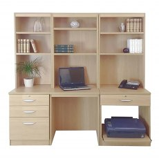 R White Cabinets Set 14 - Desk, Printer & Drawer Units with Hutch Bookcases